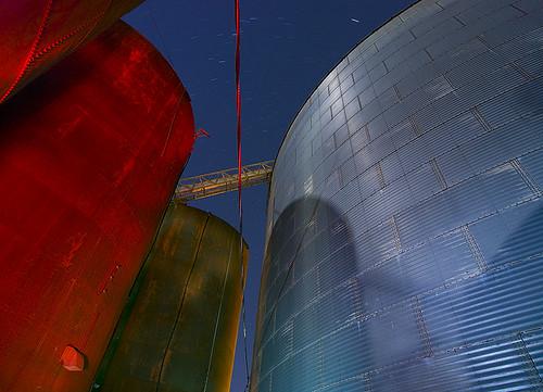 night texas grain silo prosper