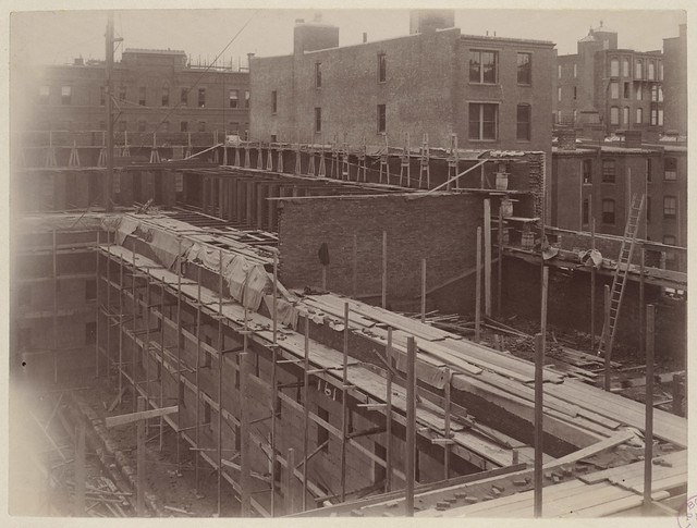 Laying brick, Courtyard west wall, construction of McKim Building