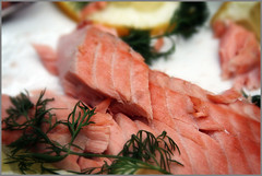 salt-cured meat(0.0), prosciutto(0.0), smoked salmon(0.0), salmon(1.0), sashimi(1.0), fish(1.0), seafood(1.0), meat(1.0), food(1.0), dish(1.0), cuisine(1.0),