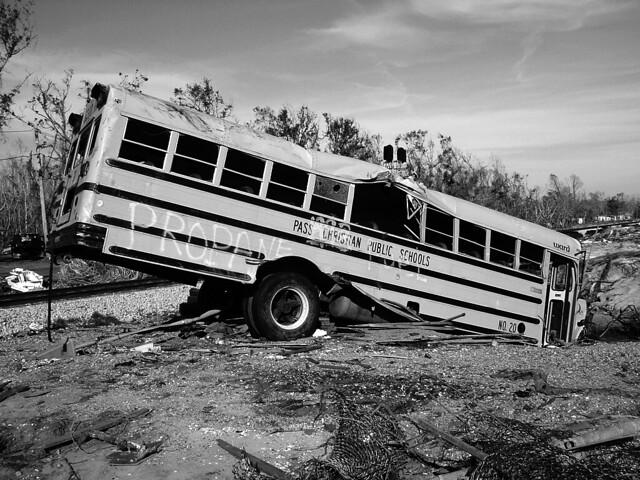 Post-Katrina School Bus (Grayscale) from Flickr via Wylio