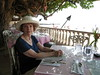 Huguette ready for a meal at Kaimana Beach Hotel, Oahu by Yvon from Ottawa