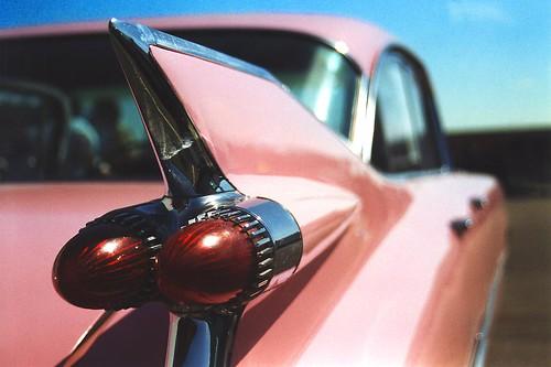 pink classiccar cadillac chrome v8 1959 tailfins