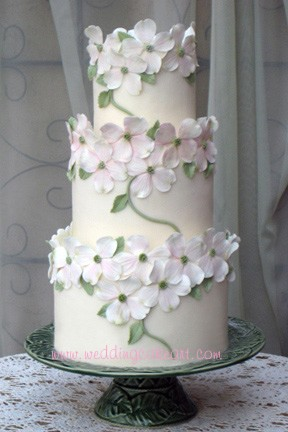 Pink dogwoods wedding cake