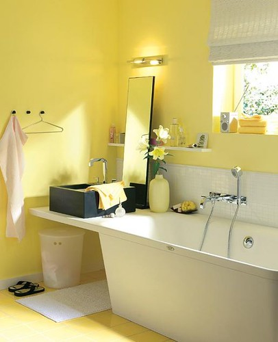 Home design fresh yellow bathroom for Yellow and green bathroom ideas