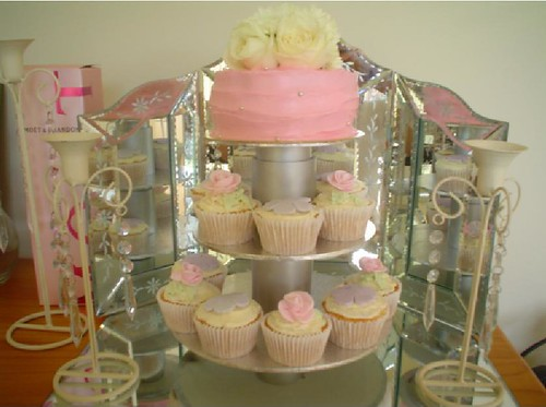 pink wedding cupcake tower