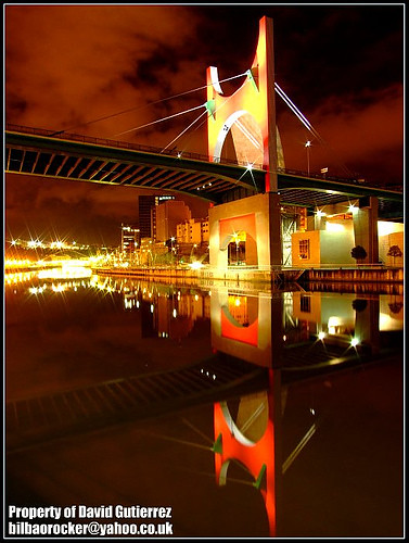 Bilbao Bridge of Dream City Red Color Lights at Night