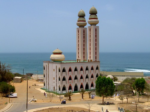 Giant mosque on the beach in Dakar