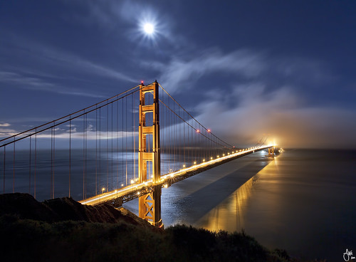Moon over the Golden Gate Bridge - San Francisco, CA