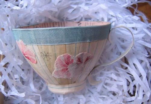 teacup with flowers and snowflakes