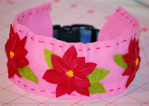 Fancy Felt Dog Collar Cover