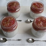Coconut creams with poached rhubarb