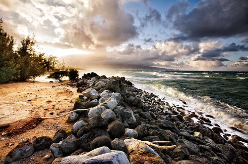 ocean sunset beach landscape hawaii maui paia baldwinbeach habaldwinbeachpark