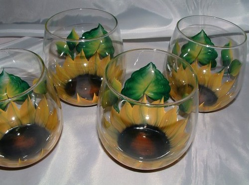 Hand Painted Stemless Wine Glass Sunflower The Stemless