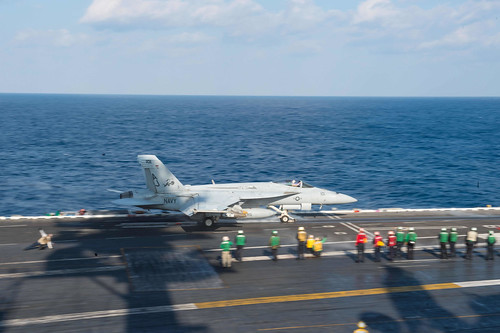 Mon, 02/13/2017 - 09:12 - 170213-N-MU198-157 MEDITERRANEAN SEA (Feb. 13, 2017) An F/A-18F Super Hornet attached to the 'Tomcatters' of Strike Fighter Squadron (VFA) 31 launches from the aircraft carrier USS George H.W. Bush (CVN 77). The George H.W. Bush Carrier Strike Group is conducting naval operations in the U.S. 6th Fleet area of operations in support of U.S. national security interests. (U.S. Navy photo by Mass Communication Specialist 3rd Class Danny Ray Nunez Jr./Released)