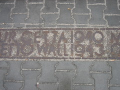 Markers of the Warsaw Ghetto Wall on the Sidewalk
