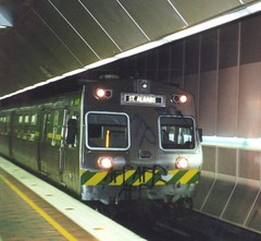 Shabby looking 66M blasts into Melbourne central/Museum station on a St Albans service.Mid 2000.