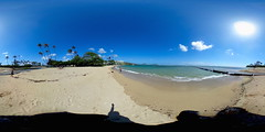 A beautiful sunny day at the Waialae Beach with a view of the Kahala, Koko Crater and Koko Head - a 360 degree Equirectangular VR