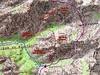 Carte de la région Spasimata/Carrozzu avec les itinéraires du Pas de la Chèvre et des ravins de Ladroncellu/Falcone