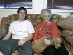 Mike, Grandma and new dog Toby