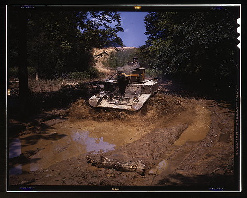 Light tank going through water obstacle, Ft. Knox, Ky.  (LOC)