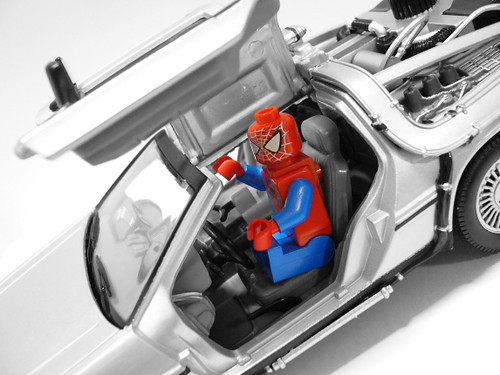 Spiderman on Back To The Future vehicle