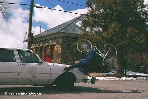 A car-to-bicycle crash test
