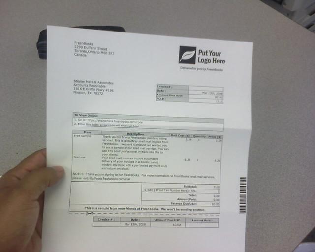 Freshbooks sample invoice flickr photo sharing for Freshbooks invoice templates
