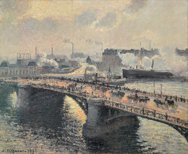 """Rouen (Seine-Maritime) - Musée des Beaux-Arts - """"Le pont Boïeldieu à Rouen, soleil couchant, temps brumeux, 1896 """" (Camille Pissarro, 1830-1903)"""
