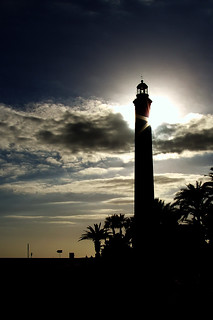 Image of Playa de Maspalomas near Playa del Ingles. sunset sea lighthouse beach grancanaria night clouds faro island noche mar playa canarias nubes canaryislands isla maspalomas