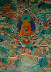 Buddha, earth touching mudra, Buddhas and Bodhisattvas engaged in life, interior, Tharlam Monastery, Boudhanath, Kathmandu, Nepal
