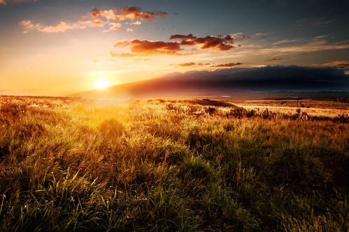 sunset sun field landscape hawaii maui fallow maalaea pukalani westmauimountains kahalui