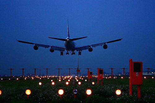 173k桃园国际机场-飞机-降落指引灯