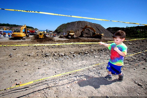 a row of diggers being operated by kids   IMG 3759