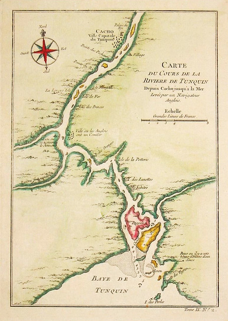 Carte du Cours de la Riviere de Tunquin - (Map of the Tunkin river with Hanoi in Vietnam)