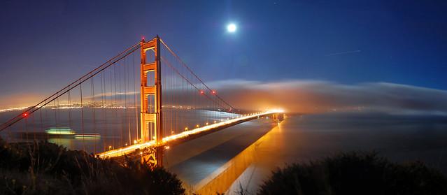 Golden Gate & Full Moon, Panorama