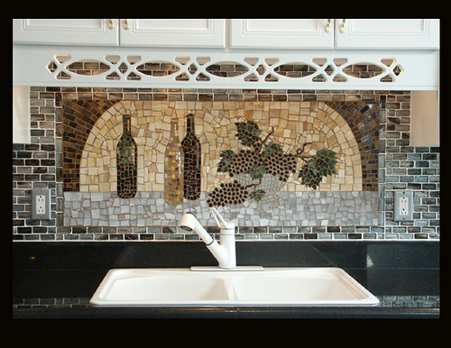 wine maker mosaic backsplash hand cut glass mosaic of wine