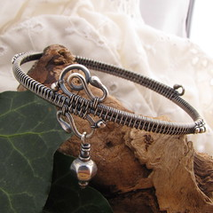 bangle east~handmade sterling silver wire wrapped bracelet