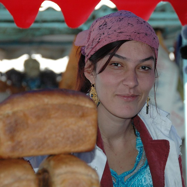 Tajik Woman and Bread - Dushanbe, Tajikistan