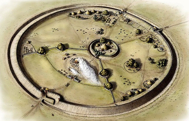 Recostruction of Bloodgate Hill, Iron Age Fort, South Creake, Norfolk,