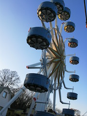 blue, amusement ride, ferris wheel, amusement park,
