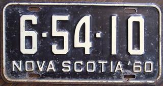 NOVA SCOTIA 1960 license plate USED 1961 ALSO