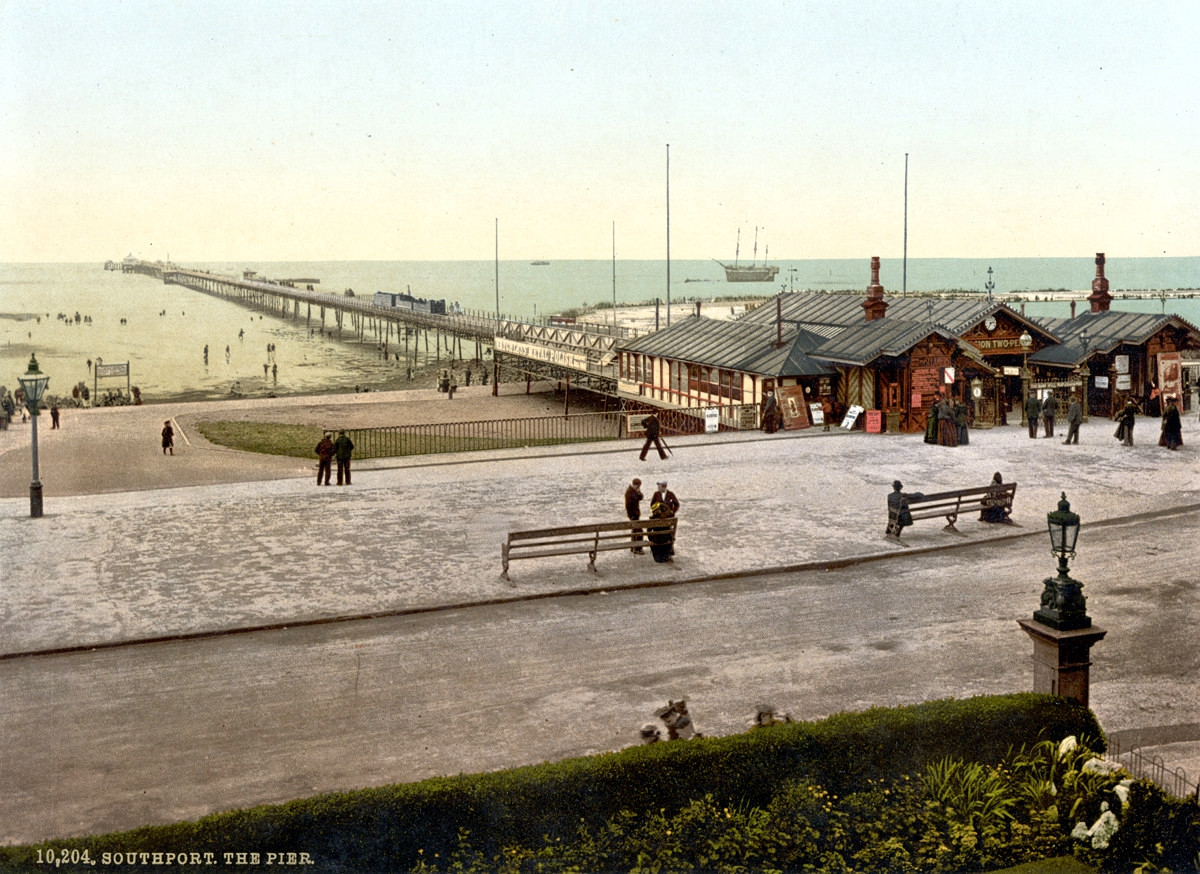 Southport Pier and Bridge, England, 1895