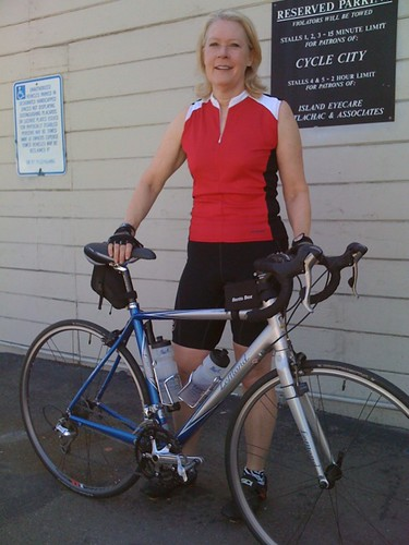 The fabulous Ms. L and her Lemond road bike