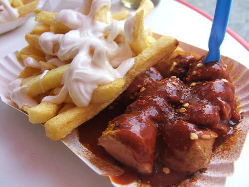 Currywurst mit Pommes. Berlin. Germany