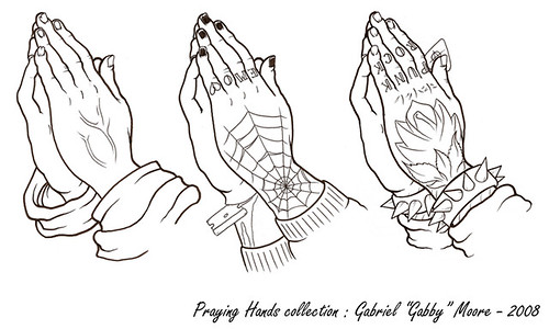 praying hands with rosary and cross for god cliparts and coloring pages