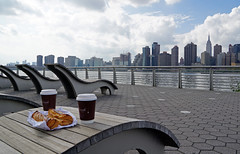 Coffee break at Gantry Plaza State Park - Long Island City, Queens, NYC