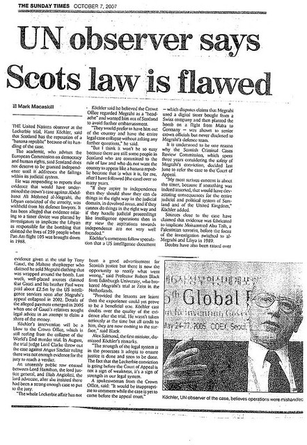 UN Observer says Scots law is flawed - Sunday Times october 7 2007