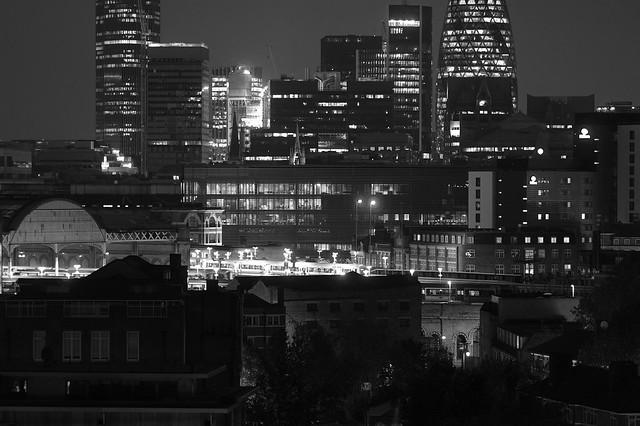 More London on a cloudy night, the late train arriving - EPSN0020bwhi