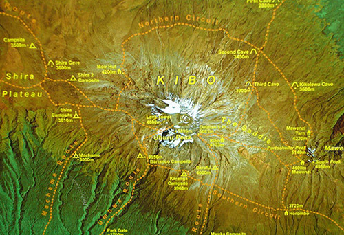 Relief Map of Kilamanjaro