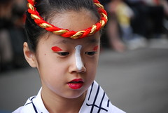 geisha, face, hairstyle, clothing, red, head, fashion, female, close-up, costume, person, beauty,